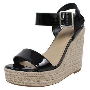 Shoes - Black Open Toe Ankle Strap Espadrille Wedge